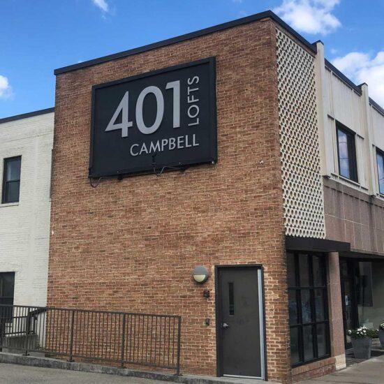 401 Campbell Lofts exterior of apartment building