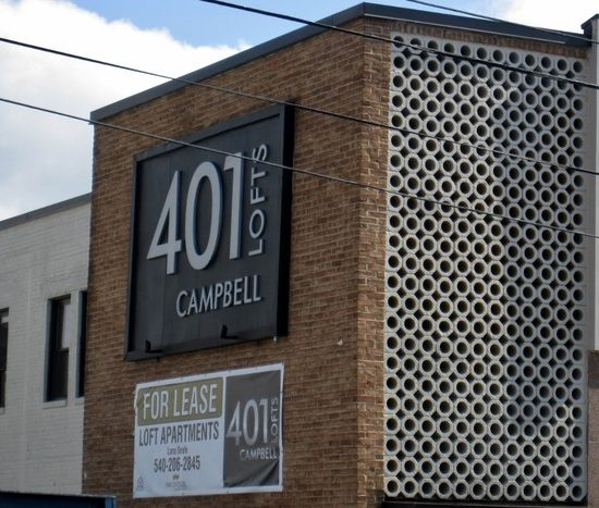 401 Campbell Lofts exterior of building and sign