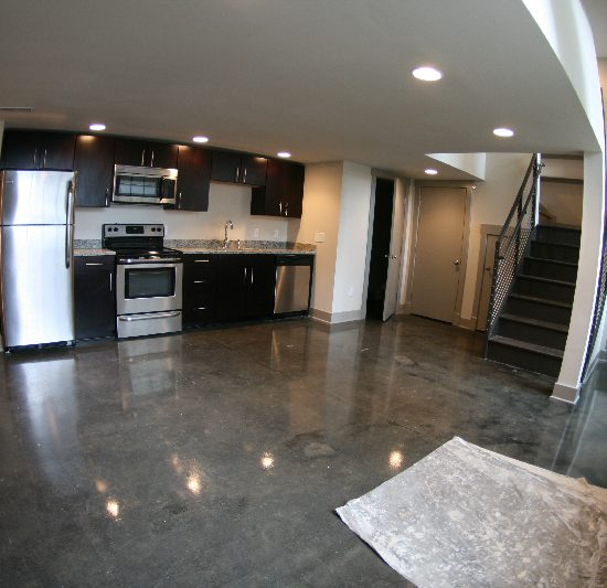 Auction House Kitchen with grey marble floors