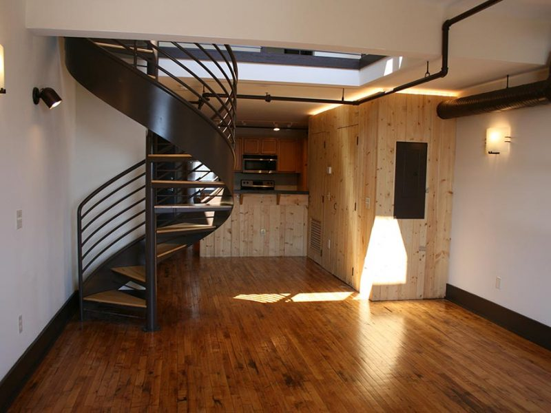 Lawson Building East Living room with hardwood floors