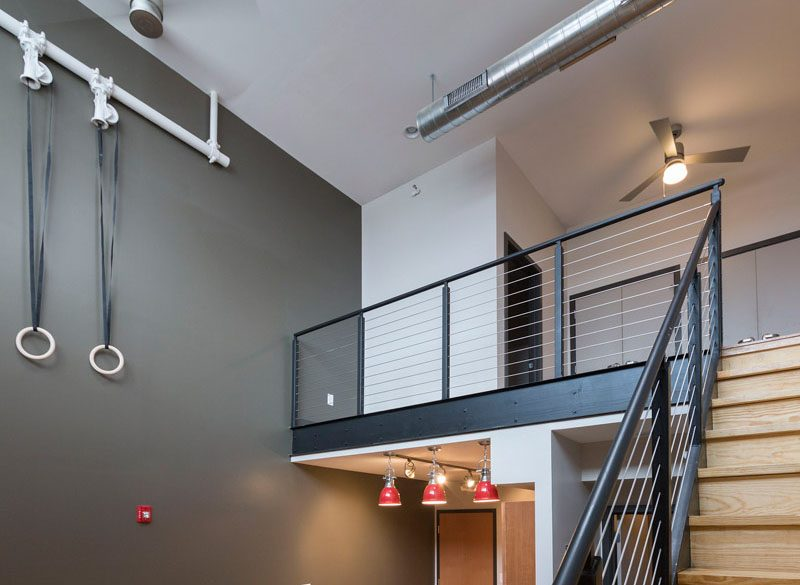 The Locker room loft loft area and staircase