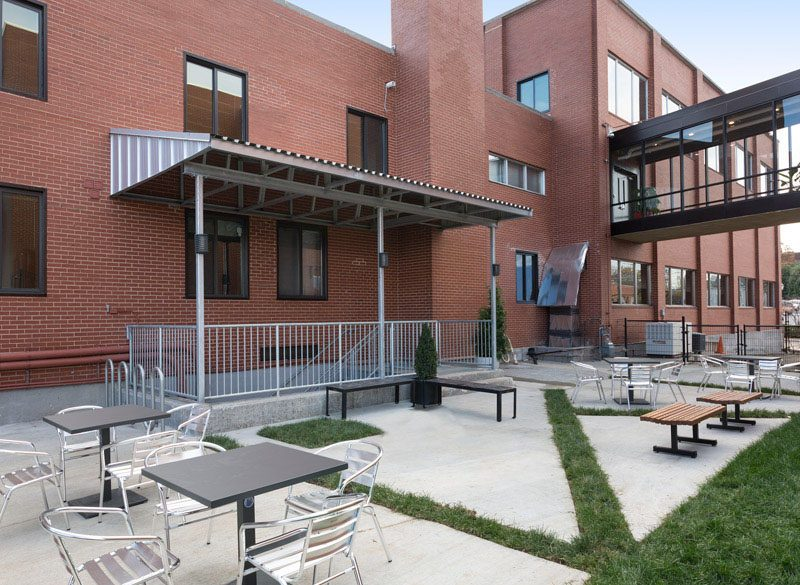 The Locker Room Lofts outdoor seating area